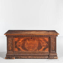 Carved and Inlaid Walnut Coffer