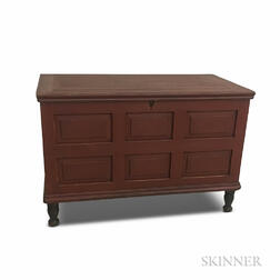 Red-painted and Paneled Blanket Chest
