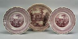 Three Mulberry Transfer Decorated Staffordshire Dishes