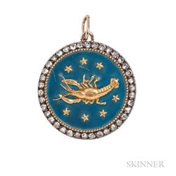 Enamel and Diamond Cancer Zodiac Pendant