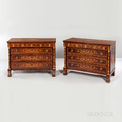 Pair of Italian Empire-style Mahogany-veneered Marquetry Commodes