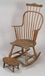 Windsor Ash and Maple Continuous-arm Comb-back Rocking Chair