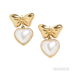 18kt Gold and Mabe Pearl Heart Earrings