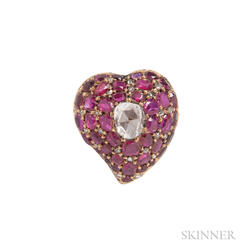 "Antique Gold, Ruby, and Rose-cut Diamond ""Witch's Heart"" Brooch"