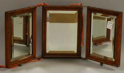 Small Late Victorian Oak Three-part Folding Mirror with Beveled Glass.     Estimate $75-100