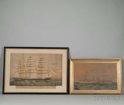 Two Framed Hand-colored Lithographs of Ships