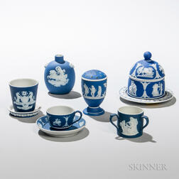 Seven Wedgwood Small Dark Blue Jasper Dip Items