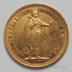 1905 Hungarian 10 Korona Gold Coin.     Estimate $100-150