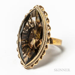 14kt Gold and Smoky Quartz Cocktail Ring
