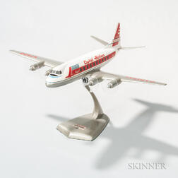 Walkers Westway Capital Airlines Vickers Viscount Aviation Model with Display Plinth
