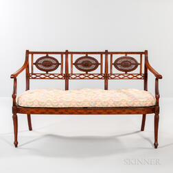 Edwardian Paint-decorated Caned Settee