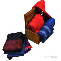 Sallin Teak Blanket Box and Eight Scandinavian Blankets