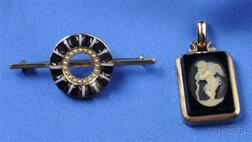 Two Antique 14kt Gold and Hardstone Jewelry Items