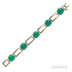 14kt Gold, Dyed Green Chalcedony, and Enamel Bracelet