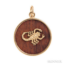 18kt Gold and Wood Scorpio Zodiac Pendant, Van Cleef & Arpels