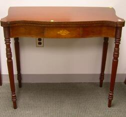 Kaplan Federal-style Inlaid Mahogany and Mahogany Veneer Serpentine Card Table