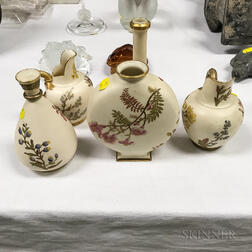 Five Royal Worcester Floral-decorated Porcelain Vessels