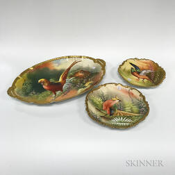 Three Limoges Hand-painted Porcelain Dishes with Game Birds