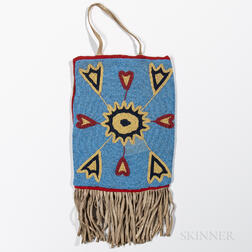 Large Plateau Beaded Cloth and Hide Bag
