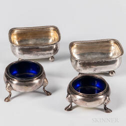 Four Georgian Sterling Silver Salt Cellars
