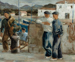 Ramiro Arrue (Spanish, 1892-1971)      Sketch of Basque Fishermen on the Docks