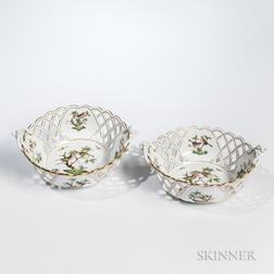 Pair of Herend Rothschild Bird-decorated Reticulated Porcelain Bowls