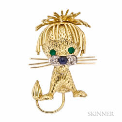 18kt Gold Gem-set Lion Brooch