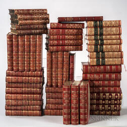 Decorative Bindings, Sets, Approximately Fifty Volumes in Red Morocco.