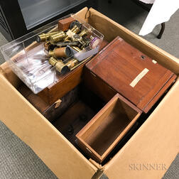 Collection of Microscope Parts and Boxes