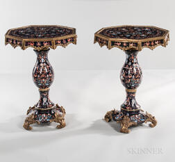 Pair of Neoclassical-style Dore Bronze Mounted Porcelain Tables