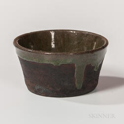 Green-glazed Redware Custard Cup