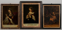 Three Mezzotint and Watercolor Domestic Scenes Mounted on Glass