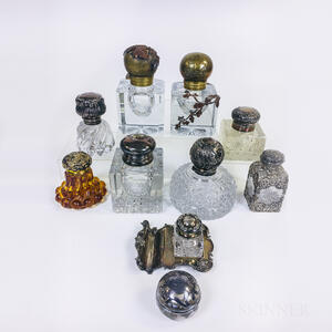 Ten Mostly Sterling Silver-mounted Inkwells