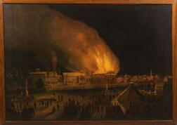"""J.P. Fisk, (Boston, ac. late 19th century),     Painting of the """"Union Wadding Co."""" Fire, Pawtucket, Rhode Island, 1870"""