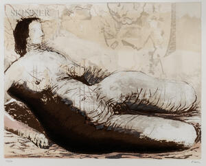 Henry Moore (British, 1898-1986)      Reclining Woman with Yellow Background
