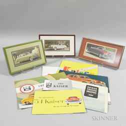 Three Framed 1949 Kaiser Automobile Photographs and Eight Kaiser Pamphlets.     Estimate $20-200