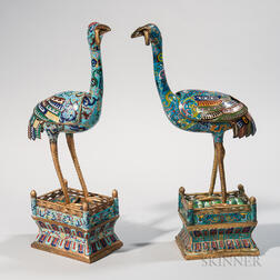 Two Cloisonne Crane-shaped Censers
