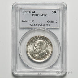 1936 Cleveland Commemorative Half Dollar, PCGS MS66.     Estimate $100-200