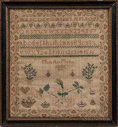"Needlework Sampler ""Mary Ann Martin,"""
