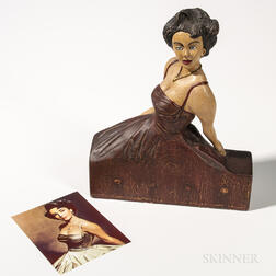 Carved and Painted Figure of Elizabeth Taylor