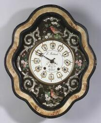 Continental Mother of Pearl Inlaid and Paint Decorated Wall Clock