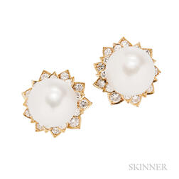 18kt Gold, South Sea Pearl, and Diamond Earclips, David Webb