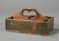 Green-painted Wooden Cutlery Box with Cut-out Heart-shaped Handle