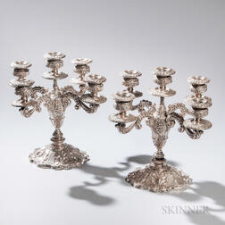 Pair of Spanish Five-light Silver Candelabra
