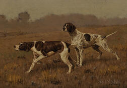 John Martin Tracy (American, 1843-1893)      Two Hunting Dogs in a Landscape