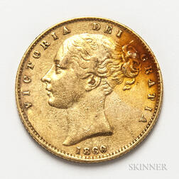 1860 British Gold Sovereign.     Estimate $300-500