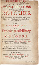 Boyle, Robert (1627-1691) Experiments and Considerations Touching Colours.