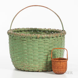 Small Nantucket Basket and a Green-painted Basket