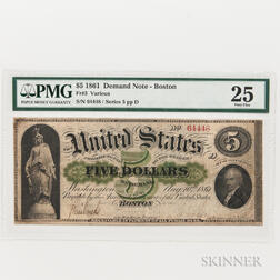 1861 $5 Demand Note, Boston, Fr. 3, PMG Very Fine 25