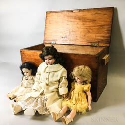 Armand Marseille and Two Vintage Madame Alexander Dolls with a Pine Chest
